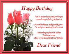 Happy Birthday Cards for Friends   Happy Birthday Dear Friend. Free For Your Friends eCards, Greeting ...