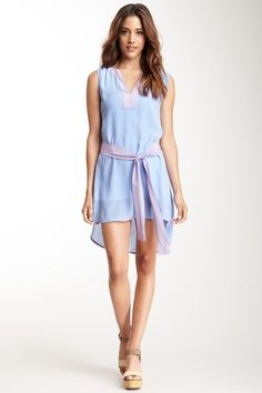 Split Collar Colorblock Sash Dress by M by Marcus on @HauteLook