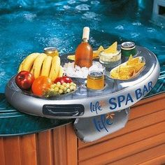 Take relaxation to the next level with the Pool Systems Life Floating Inflatable Spa Hot Tub Bar presented by Pool Tool Express. Inflate the Life Spa Bar and fill with ice for wine, cheese, chicken wi