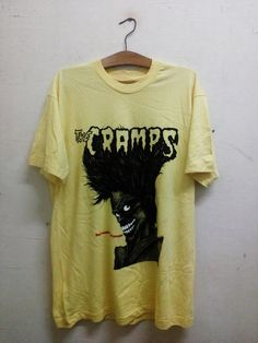 Sale Rare !! Vintage Yellow THE CRAMPS Bad Music For Bad People Album art by Stephen W. Blickenstaff (artist) Punk T-Shirt Mens XL by Psychovault on Etsy