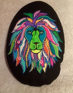 A stylized lion with a colorful mane!