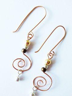 Copper Earrings  Copper Dangle Earrings  Swirl by MetalMomJewelry, $18.00
