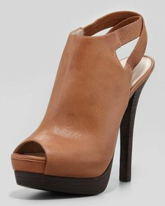 Crissy Slingback Leather Platform Bootie, Rusty by Pelle Moda at Neiman Marcus.