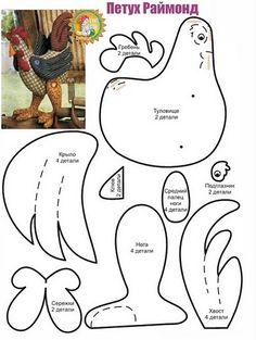 ARTE COM QUIANE - Paps,Moldes,E.V.A,Feltro,Costuras,Fofuchas 3D: Molde Galo 3D