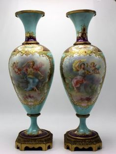 Pair Of Sevres Hand Painted Vases