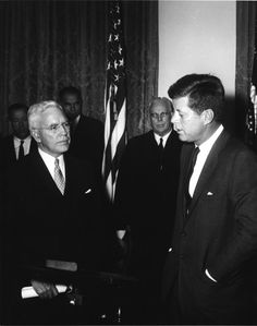 AR6917-A. President John F. Kennedy and John McCone at Swearing-in Ceremony - John F. Kennedy Presidential Library & Museum