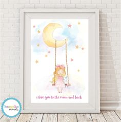 Moon Swing Watercolour Print by Bespoke Moments. Worldwide Shipping Available.