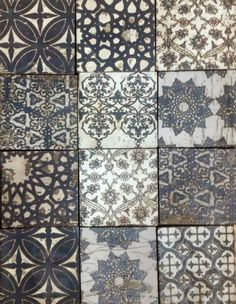 Origins tiles at www.cletile.com  I love the idea of using many concrete tiles in one back splash in a kitchen. It can be done well.