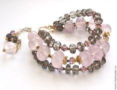 """Купить Браслет из серебра """"Рея"""" розовый кварц позолота ... - браслет из камней, браслет с подвесками"""