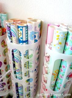 Plastic bag holders from Ikea used to store gift wrap storage organization Do It Yourself Organization, Home Organisation, Craft Organization, Craft Storage, Organizing Ideas, Storage Ideas, Closet Organization, Ikea Storage, Ikea Bins