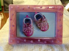 Pretty in Pink, fused glass frame