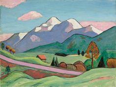 """Gabriele Münter  Berlin 1877 – 1962 Murnau     """"MURNAU WEST IM FRÜHLING""""  1960. Oil on canvas.   38,5 x 50,5 cm (15 ⅛ x 19 ⅞ in.)"""