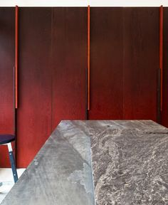 Detail of dyed doug fir custom cabinets. Mister Ice Cream in Vancouver by Scott & Scott | Remodelista