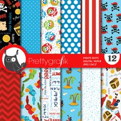 pirate boys digital papers, great for parties, scrapbooking, invitations