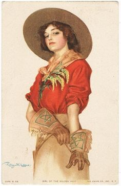 Girl of the Golden West Postcard. 1915 from curioshop on Ruby Lane