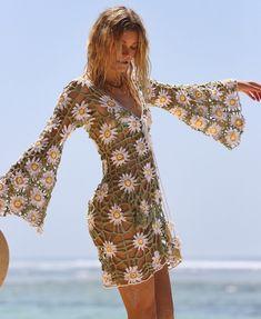 Mode Crochet, Knit Crochet, Crochet Style, Crochet Daisy, Crochet Wedding Dresses, Crochet Dresses, Crochet Beach Dress, Dress Beach, Dress Summer