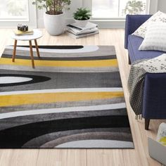 Well Woven Rosa Gold/Gray Rug   Wayfair Yellow Walls, Grey Yellow, Gold Walls, Yellow Area Rugs, White Area Rug, Black And Grey Rugs, Outdoor Area Rugs, Home Decor Styles, Rugs In Living Room