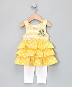 Another great find on #zulily! Yellow Ruffle Tunic & Leggings - Toddler & Girls by Nannette #zulilyfinds