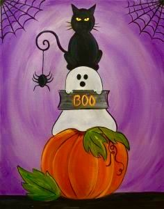 Join us at Pinot& Palette - St. Petersburg Studio on Sat Oct 2016 for Halloween Spooks. Seats are limited, reserve yours today! Halloween Canvas Paintings, Fall Canvas Painting, Halloween Painting, Autumn Painting, Autumn Art, Fall Paintings, Halloween Window, Halloween Rocks, Halloween Images