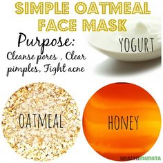 DIY Homemade Oatmeal Face Mask RecipesThis is a great face mask to get rid of pesky blackheads too! 1 table spoon ground oatmeal 1 teaspoon honey 1 teaspoon yogurt plain unsweetened probiotic or thick yogurt Yogurt Face Mask, Honey Face Mask, Oatmeal Face Mask, How To Clear Pimples, Cucumber Face Mask, Avocado Mask, Pore Mask, Face Mask For Blackheads, Homemade Oatmeal