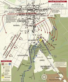 Gettysburg Map, Gettysburg Battlefield, Battle Of New Market, Battle Of Shiloh, America Civil War, Civil War Photos, Military History, Civilization, Planer