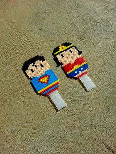 Superman and Wonder Woman Cake Topper - Wedding Cake Topper perler bads by BurritoPrincess