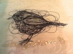 Stitched Bird on a Golden Carpet by JackieBicknellArt on Etsy, £25.00 textile art embroidery
