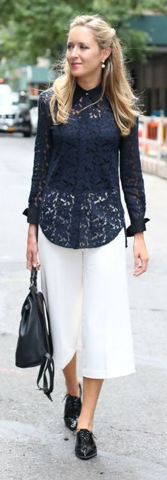 ivory culottes, lace button down shirt, patent oxford, black backpack + pearl statement earrings {whbm, 3.1 phillip lim, stuart weitzman, reiss, kate spade}