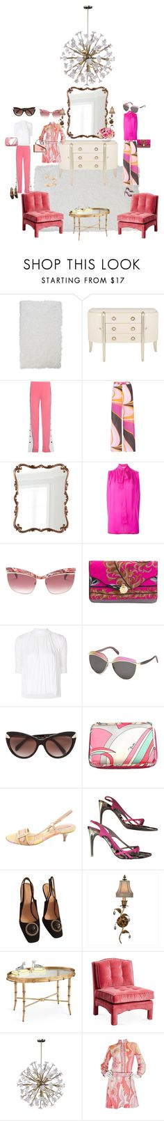 """""""Out on the town in Pucci"""" by shellygregory ❤ liked on Polyvore featuring Home Dynamix, Emilio Pucci, Fine Art Lamps, Chelsea House and Golden Lighting"""