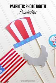 patriotic photo booth printables for of July or Memorial day party - Home Decor Diy Cheap Patriotic Party, Patriotic Crafts, July Crafts, Holiday Crafts, Holiday Fun, Holiday Parties, Parties Food, Mouse Parties, 4th Of July Celebration