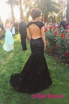 New Style High Neck Backless Lace Black Open Back Mermaid Cap Sleeve Evening Dresses uk PH05