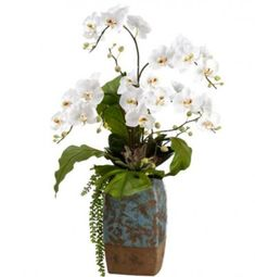 White Silk Floral Arrangment with Phalaenopsis Orchids in Pottery Urn -ARWF1247