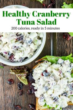Delicious cranberry tuna salad made with apples, celery, dried cranberries, and a creamy yogurt based dressing, Great for sandwiches, salads, and wraps. This healthy recipe from Slender Kitchen is MyWW SmartPoints compliant and is gluten free and low carb. #lunch #salad #quickandeasy Best Tuna Salad, Healthy Tuna Salad, Healthy Eating, Clean Eating, Tuna Fish Salad, Fruit Salad, Sandwiches, Slender Kitchen, Good Healthy Recipes