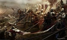 polish hussars - Battle of Kircholm - The battle was decided in 20 minutes by the devastating charge of Polish-Lithuanian cavalry, the Winged Hussars, against the Swedish army. Fantasy Battle, Fantasy Warrior, Fantasy Art, Age Of Empires, Medieval Art, Medieval Fantasy, Templer, Knight Armor, Crusader Knight