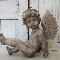 Wood carved cherub statue sculpture vintage distressed French Santos style large angel with crown made in Italy anita spero on Etsy, $400.00