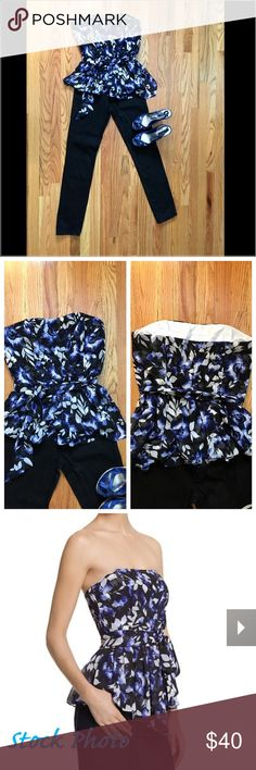 """WHBM Blue Sapphire Floral Bustier Women's Sz 8 Silky soft bustier sculptured with a curvy sweetheart neckline, pleats in all the right places and cascading front.  Exclusive print features a floral motif in shades of blue, with black foliage to ensure it integrates effortlessly into your existing collection. Hourglass fit. Bustier construction w/boning for support and silicone to prevent shifting. Removable straps and sash. Asymmetrical peplum.  Fully lined. 100% polyester.  Length: 24.5""""…"""