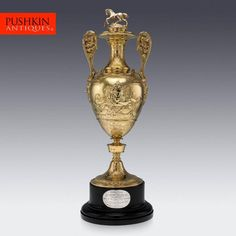 ANTIQUE 19thC VICTORIAN SOLID SILVER GILT TROPHY CUP & COVER, LONDON c.1865