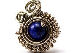Wire+Wrap+Ring+with+Lapis+Lazuli+stone+-+Steampunk+Ring+-+Gemstone+Jewelry