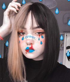 E-girl's makeup💧 . Edgy Makeup, Grunge Makeup, Grunge Goth, Clown Makeup, Sfx Makeup, Cute Makeup, Makeup Inspo, Makeup Art, Makeup Inspiration