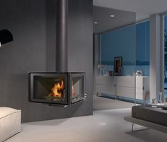 Find out all of the information about the ROCAL product: wood-burning fireplace / contemporary / closed hearth / VERTEX. Wood Fireplace, Fireplaces, Fireplace Modern, Sweet Home, Log Burner, Modern Spaces, Modern Interior Design, Modern Bedroom, Windows And Doors