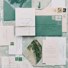 wedding stationary with green envelopes, calligraphy and minimal design Green Wedding, Wedding Colors, Wedding Stationary, Wedding Invitations, Calligraphy Envelope, Custom Stationery, Minimal Design, Invitation Design, Green Colors