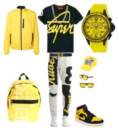 black n yellow by tikitress on Polyvore featuring Superdry, G-Star Raw, Aztech, NIKE, Oceanaut, Vuarnet, Kenzo, Gucci, Dsquared2 and men's fashion