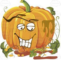 Happy Content Smiling Pumpkin Face With Green Vines #autumn #celebration #emotion #expression #face #fall #feeling #halloween #holiday #jackolantern #mood #november #october #orange #patch #PDF #pumpkin #thanksgiving #vectorgraphics #vectors #vectortoons #vectortoons.com #vegetable #vine