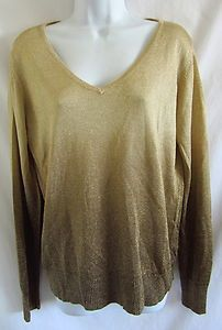 CHICO'S Gold Metallic Ombre Print Shimmer Semi Sheer Mesh 2 L Sweater  $28.75