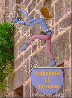 Whimsical sign for a soap boutique in Bretagne, France    aux petits bonheurs d'Arielle    ᘡղbᘠ