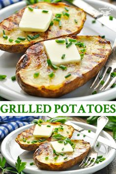 Grilled Potatoes The easiest summer side dish! These Grilled Potatoes are crispy on the outside and tender on the inside -- and they require very little effort. Enjoy baked potatoes on the grill so that you don't have to heat up your kitchen! Potato Recipes Crockpot, Russet Potato Recipes, Healthy Potato Recipes, Scalloped Potato Recipes, Grilled Potato Recipes, Grilled Desserts, Grilled Food, Grilled Chicken, Healthy Food