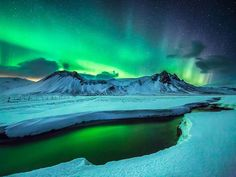"""""""Two Lands"""" is a short by Los Angeles production company scientifantastic that captures gorgeous time-lapse video of Greenland and Iceland, including their beautiful scenery and the glowing aurora . Lofoten, Aurora Borealis, Greenland Iceland, Aurora Iceland, Reykjavik Iceland, Thinking Day, Story Instagram, All Nature, Night Skies"""