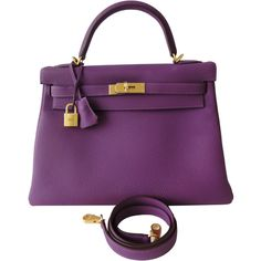Pre-Owned Hermes Kelly Bag 32cm Special Order Anemone Brushed Gold... ($21,995) ❤ liked on Polyvore featuring bags, handbags, anemone, pre owned handbags, kiss-lock handbags, colorful purses, purple leather handbag and preowned handbags