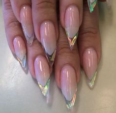 Clear Stiletto Nails w Holographic Tips