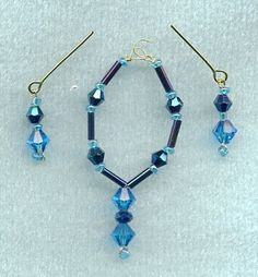 LINHILL BARBIE DOLL JEWELRY TURQUOISE CRYSTAL & IRIDESCENT BLUE SET OOAK